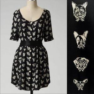 Anthropologie Maeve Silk Dog Print Dress